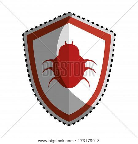 sticker color silhouette emblem of shield with beetle virus vector illustration