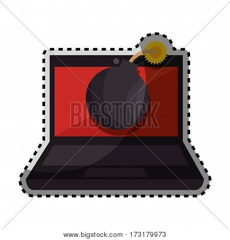sticker color silhouette of laptop computer with virus bomb on screen vector illustration