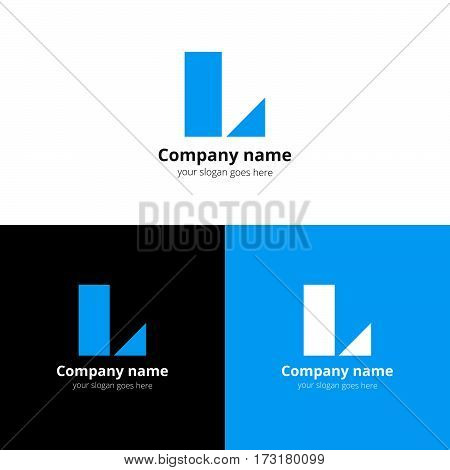 Letter L logo icon flat and vector design template. Decoration L with trend blue color on white and black background. Minimalism creative symbol L in vector elements. Eps symbol.