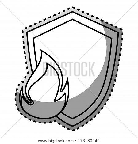 monochrome contour sticker of shield with flame vector illustration