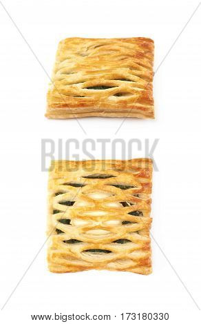Spinach and cheese bun pastry isolated over the white background, set of two different foreshortenings