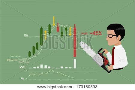 Businessman is going to stop loss by his chain saws
