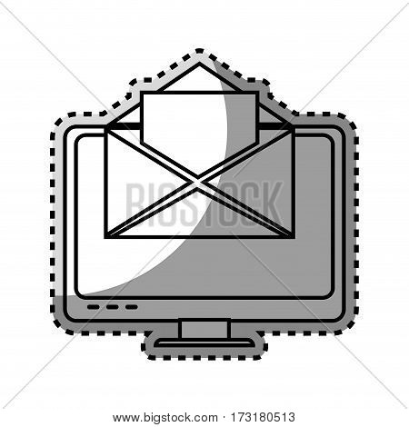 monochrome contour sticker with lcd monitor and envelope mail on screen vector illustration