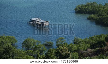 View of sea gypsies house from A J hill. Sea gypsy  village located at Tebah Batang,Lahad Datu Sabah,Borneo.