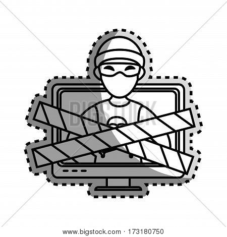 monochrome contour sticker with lcd monitor with hacker and warning tape vector illustration