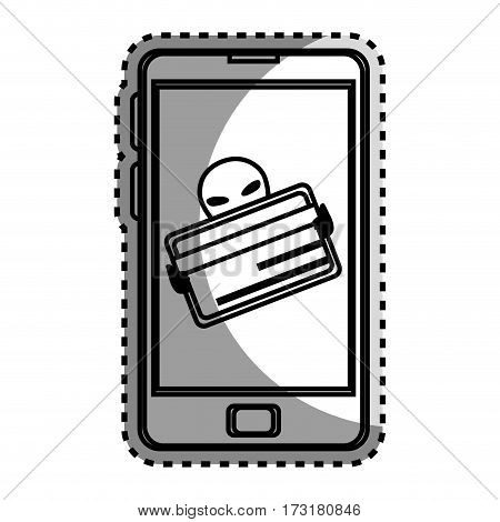 monochrome contour sticker with stealing credit card in cell phone vector illustration
