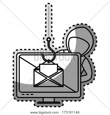 monochrome contour sticker with hacker stealing mail information vector illustration