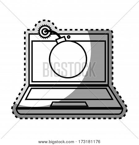 monochrome contour sticker of laptop computer with virus bomb on screen vector illustration