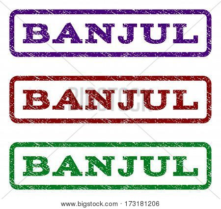 Banjul watermark stamp. Text caption inside rounded rectangle frame with grunge design style. Vector variants are indigo blue red green ink colors. Rubber seal stamp with dust texture.
