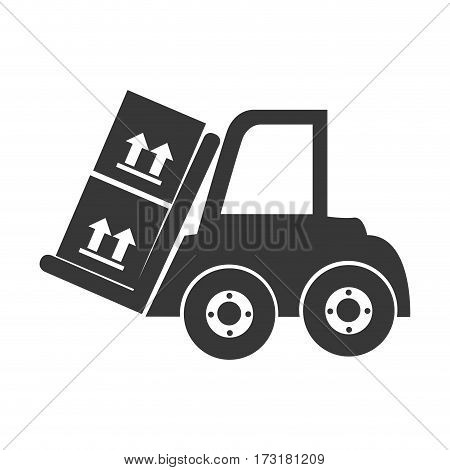 monochrome silhouette with forklift truck with forks and boxes vector illustration