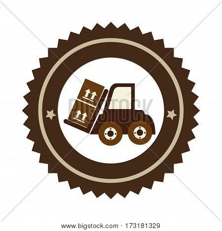 color circular emblem with forklift truck with forks and boxes vector illustration