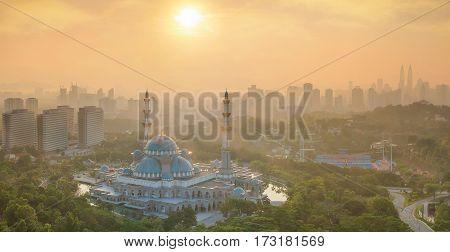 Sunrise and Masjid Wilayah Persekutuan in Kuala Lumpur Malaysia