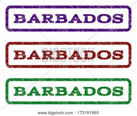 Barbados watermark stamp. Text tag inside rounded rectangle with grunge design style. Vector variants are indigo blue red green ink colors. Rubber seal stamp with unclean texture.