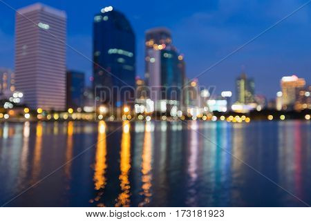 Twilight city bokeh blur lights with reflection abstact background