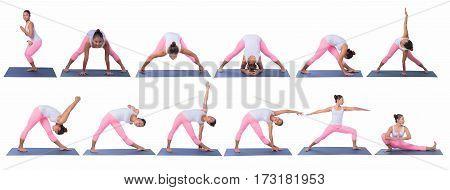 Yoga postures exercises set isolated on white background.