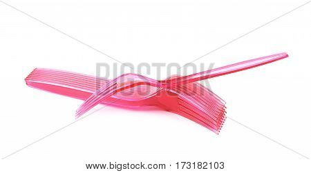 Pile of disposable plastic forks isolated over the white background