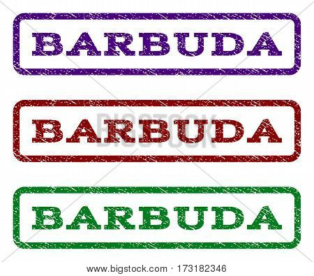 Barbuda watermark stamp. Text caption inside rounded rectangle frame with grunge design style. Vector variants are indigo blue red green ink colors. Rubber seal stamp with unclean texture.
