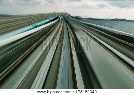 Metro train moving blurred motion abstract background