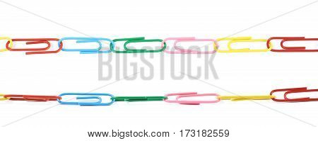 Line of colorful office clips isolated over the white background, set of two different foreshortenings