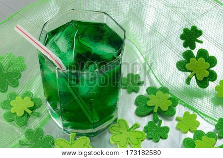 Saint Patrick's Day green drink with shamrock decorations