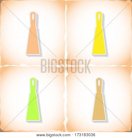Trowel. Flat sticker with shadow on old paper. Vector illustration