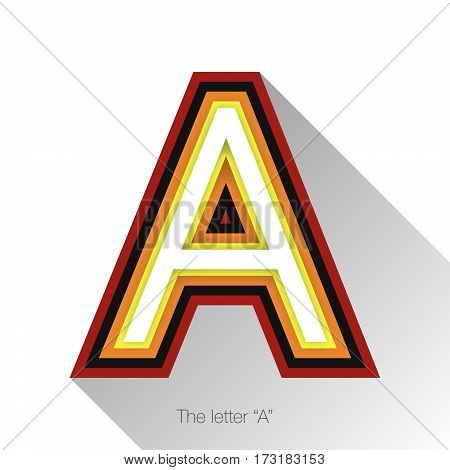 Letter A with drop shadow on white background. Vector colorful logo, sign or icon design template elements for covers, placards, posters, fliers,emblem and banner designs.