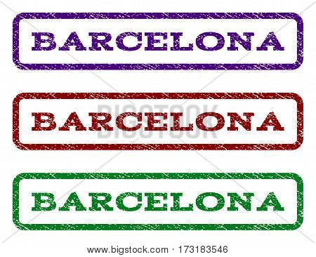 Barcelona watermark stamp. Text tag inside rounded rectangle frame with grunge design style. Vector variants are indigo blue red green ink colors. Rubber seal stamp with dust texture.