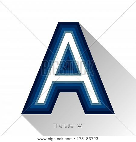 Letter A with drop shadow on white background. Vector colorful logo A, sign or icon design template elements for covers, placards, posters, fliers,emblem and banner designs.