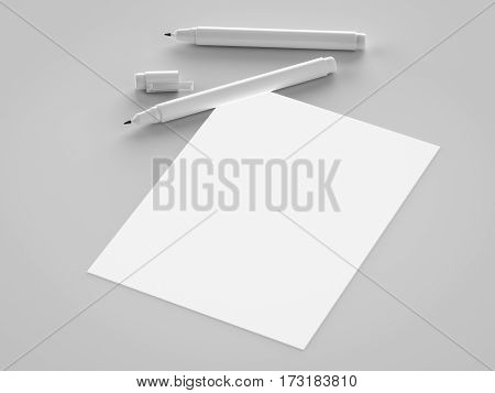White Blank Paper With White Pens
