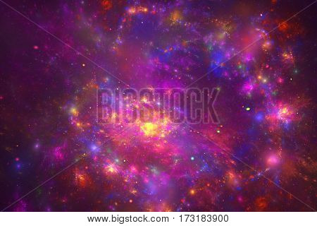 Abstract Glowing Fractal Space Texture. Fantasy Digital Artwork In Bright Pink, Blue And Yellow Colo