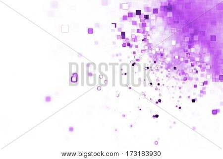 Abstract Purple Square Bokeh On White Background. Fantasy Fractal Texture. Digital Art. 3D Rendering