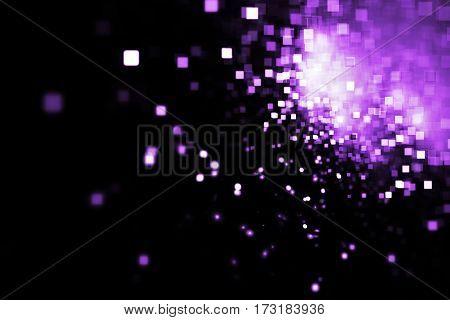 Abstract Purple Square Bokeh On Black Background. Fantasy Fractal Texture. Digital Art. 3D Rendering