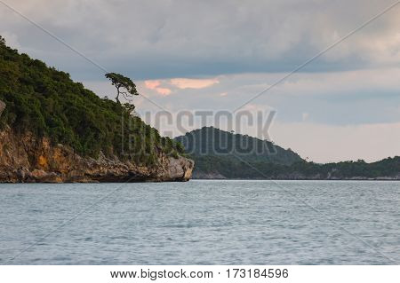 Natural seacoast skyline with rock mountain natural lanscape background