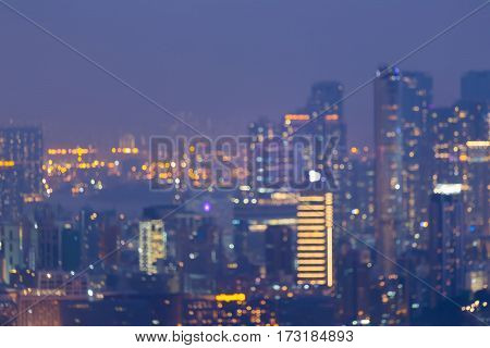 Blur light night view Hong Kong city downtown abstract background