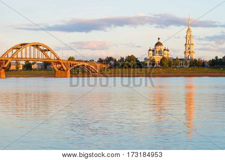 July twilight on the Volga river. Rybinsk, Russia