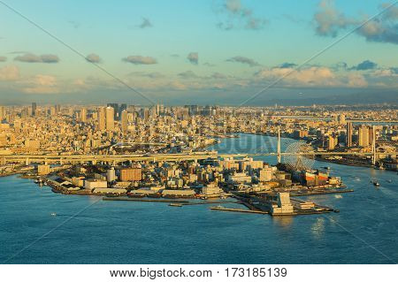 Osaka bay and city downtown background sunset tone Japan