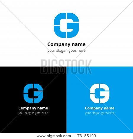 Letter G logo icon flat and vector design template. Monogram G. Logotype G with blue color. Creative vision concept logo, elements, sign, symbol for card, brand, banners.