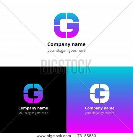 Letter G logo icon flat and vector design template. Monogram G. Logotype G with pink-blue gradient color. Creative vision concept logo, elements, sign, symbol for card, brand, banners.