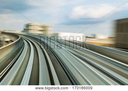 Abstract sky train moving blurred motion background