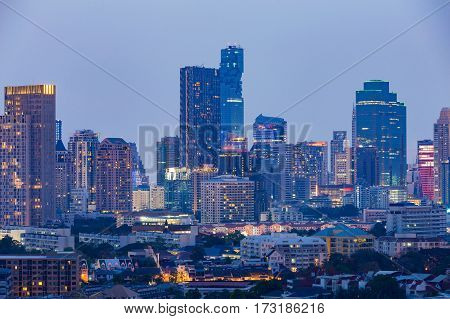 Night light city office building aerial view cityscape background