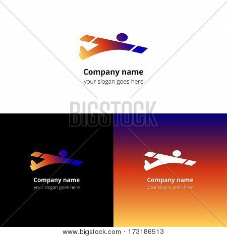 Man,user,human in fast fly airplane logo, icon, sign, emblem vector template. Abstract symbol and button with colorful trend gradient for air, fly, flight, aviation, airshow school or service company.