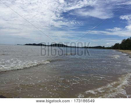 Sky, clouds, wave, mountain, tree and beach