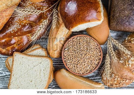 Assorted Breads And Wheat