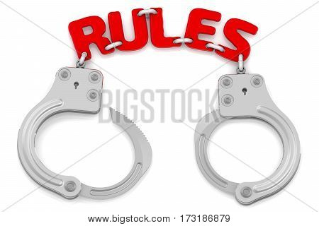 Rules as limiter of freedom. Steel handcuffs with red word
