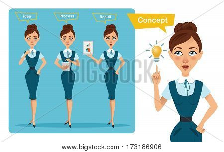 Set of business woman characters poses. Girl has idea . Girl works, counts costs and earnings. Girl shows result on tablet.