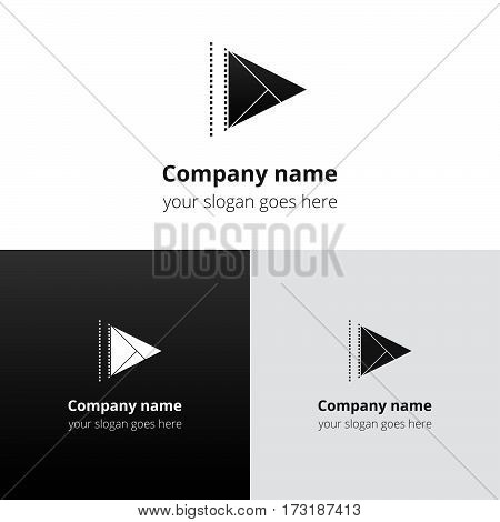 Play music sound button and video movie film strips flat logo icon vector template. Abstract symbol and button with for music, cinema, television, industrial service or company.