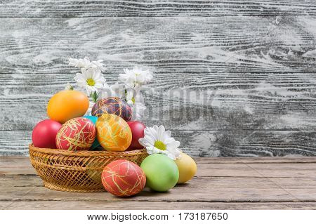 Painted Eggs And Flowers
