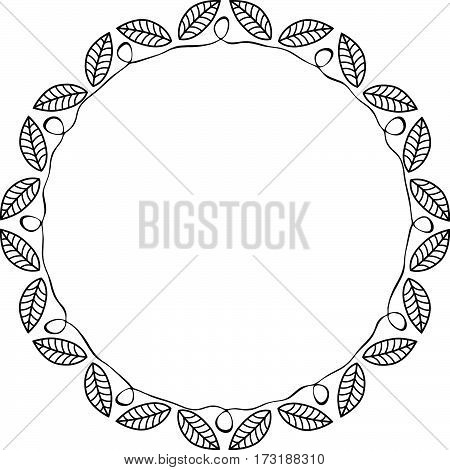 Black and white round frame with leaves and curve. Vector illustration.