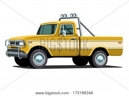 Pickup custom offroad truck with shadow. Vector isolated illustration