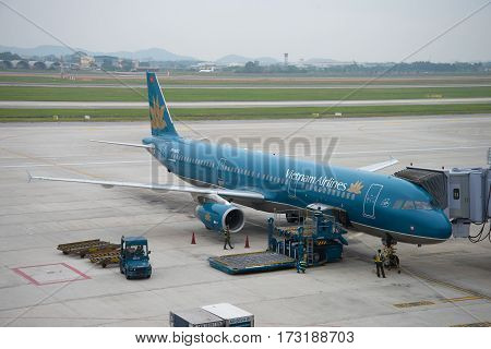 HANOI, VIETNAM - JANUARY 12, 2016: Airbus A321 (VN-A602) Vietnam Airlines in Noi Bai airport cloudy morning